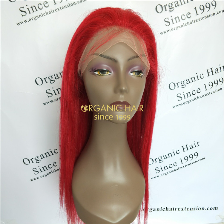 Lace front wigs Brazilian hair Red wig 150 density GT47