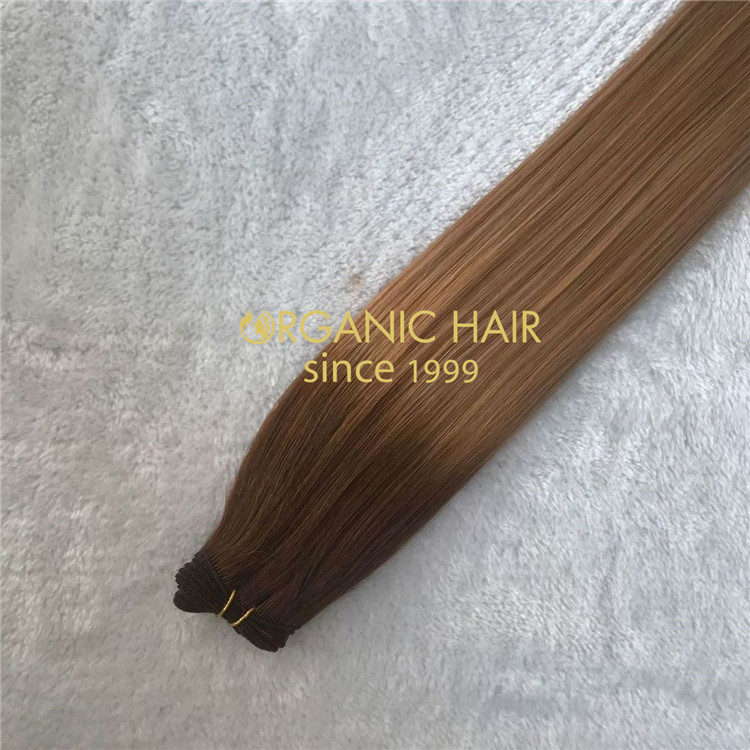 Ombre color human double drawn hand tied weft extensions X150