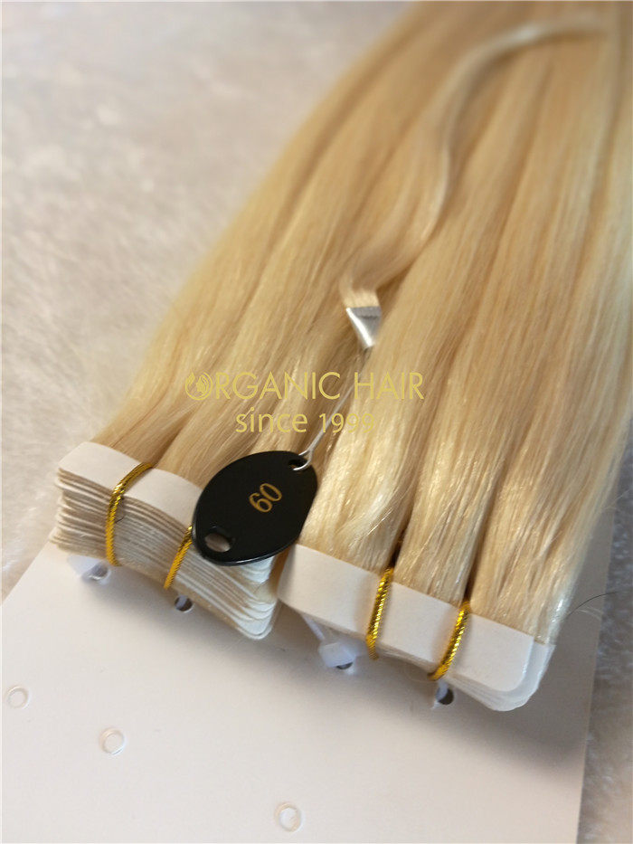 Wholesale human remy tape in hair extensions #613 X24
