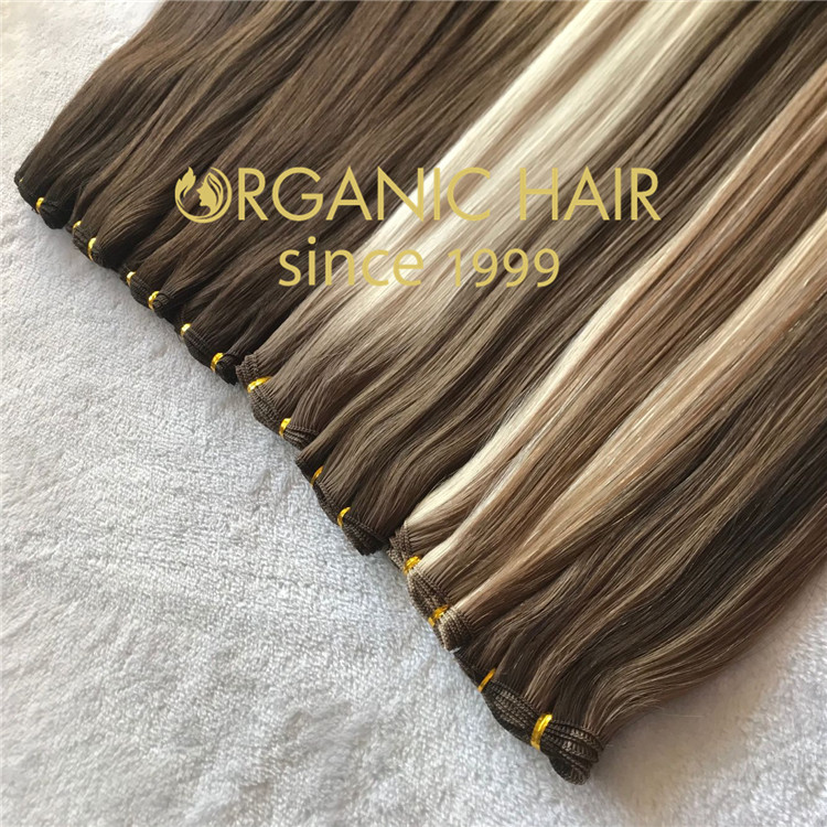 Full cuticle human hair best quality with colorful handtied weft C52