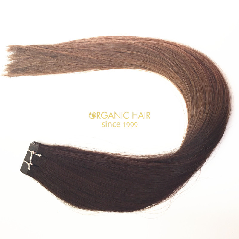 Ombre hair tape in remy real human hair extensions