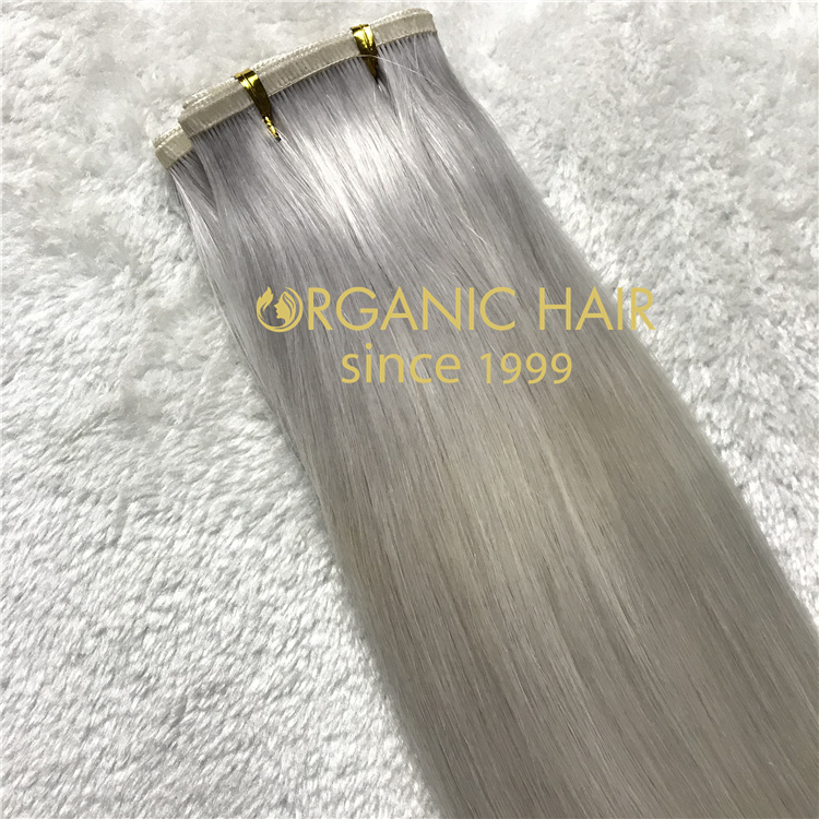 Wholesale beautiful silver remy human hair flat wefts V35