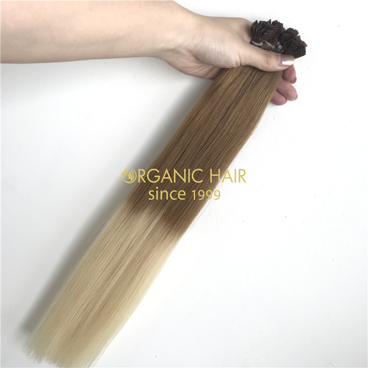 100% Human remy hair rooted color keratin flat tip X209