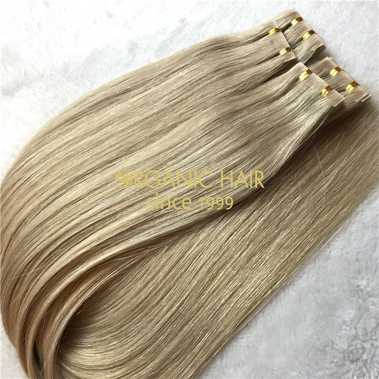 Piano color human hair pu skin weft extensions X116