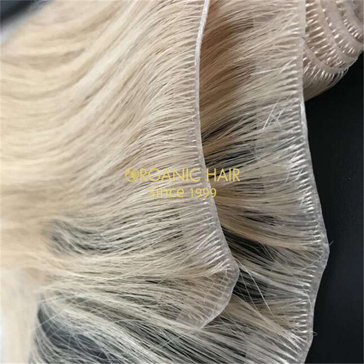 Soft remy human hair PU skin weft extensions wholesale V84