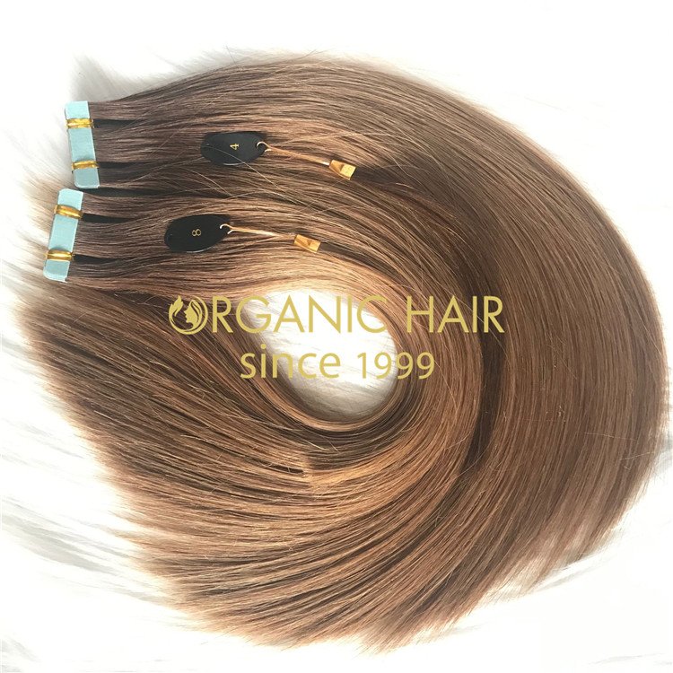 High quality tape in hair extensions ombre color 4/8  C92