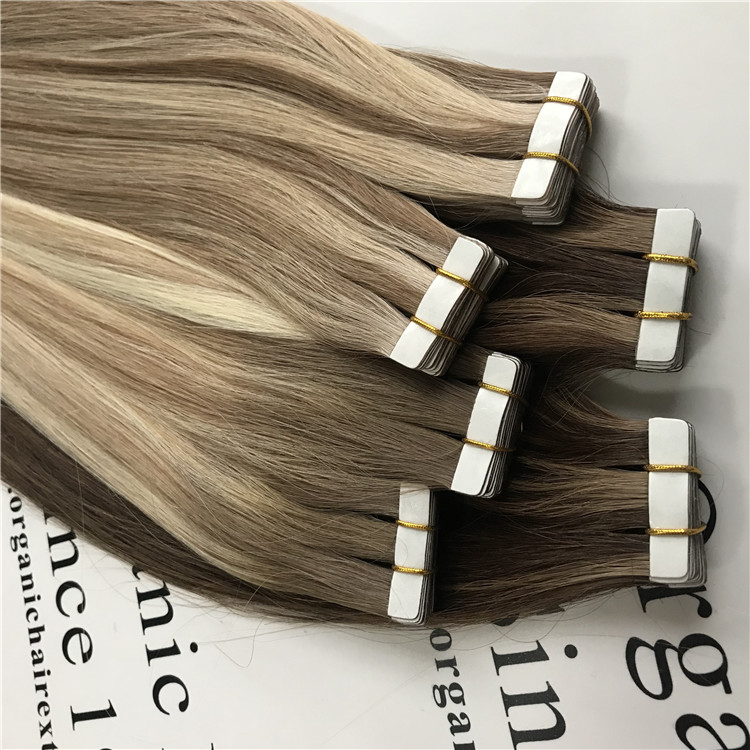 Customized highlighted ombre tape hair extensions H116