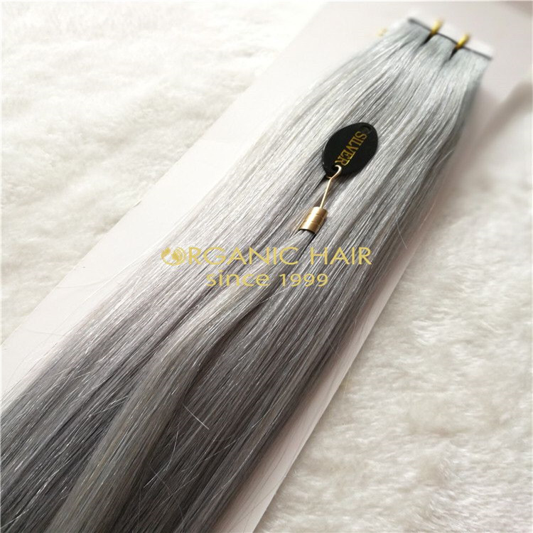 Cuticle intact silver tape-ins hair extension  H171