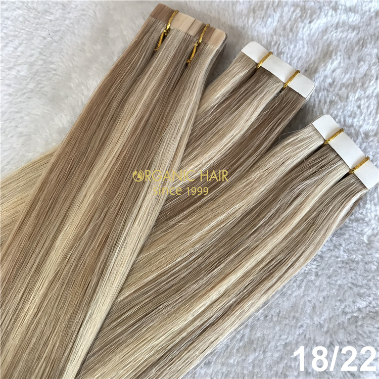 Remy human piano color tape in hair extensions X145