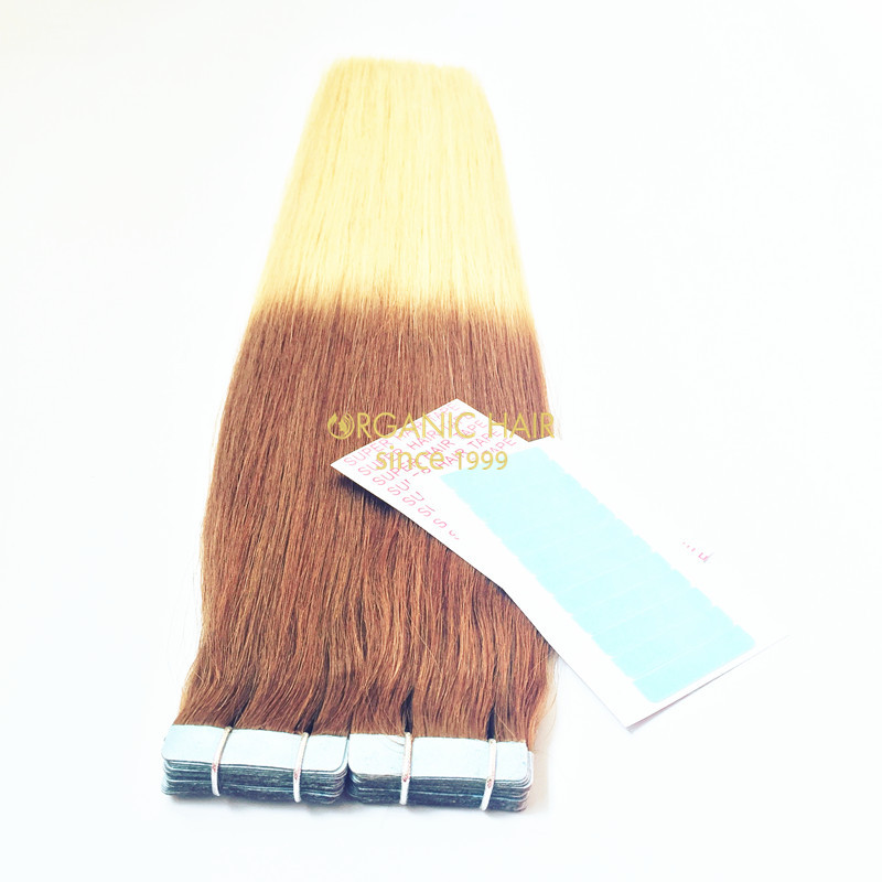Full cuticle double drawn tape in hair extensions