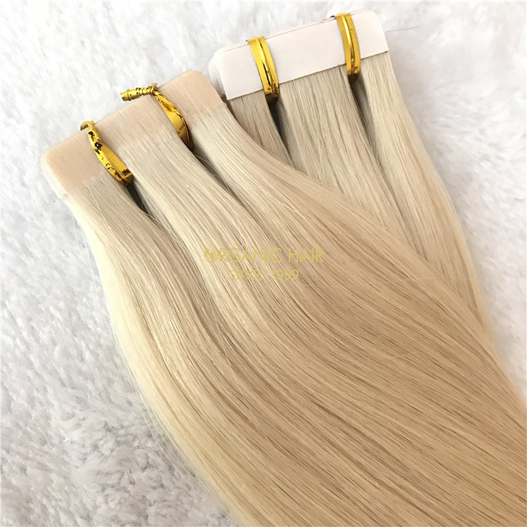 Human seamless tape hair extensions #613 color X92