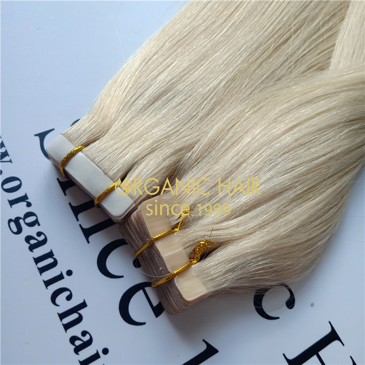 Blonde color full cuticle hair tape hair extensions  A84