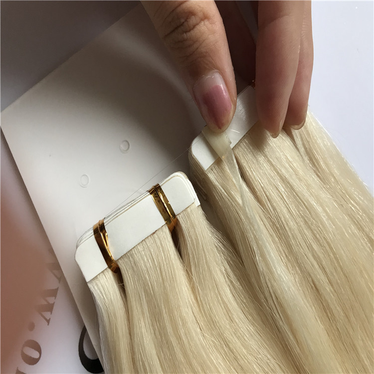 Platinum blonde tape in hair extension H33