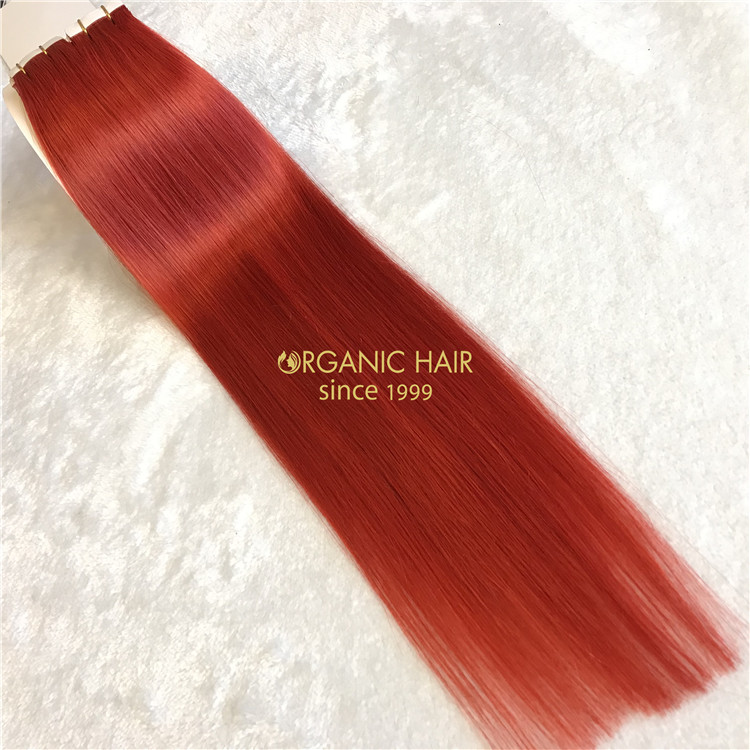 Seamless tape in hair extensions red color X107