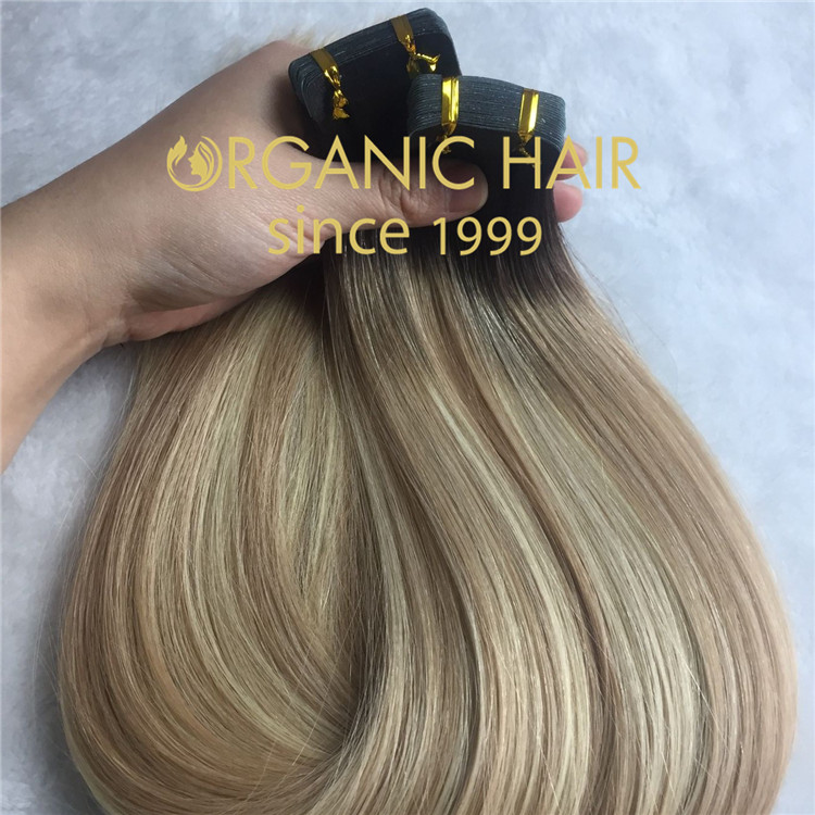 Human remy hair tape in extensions C65