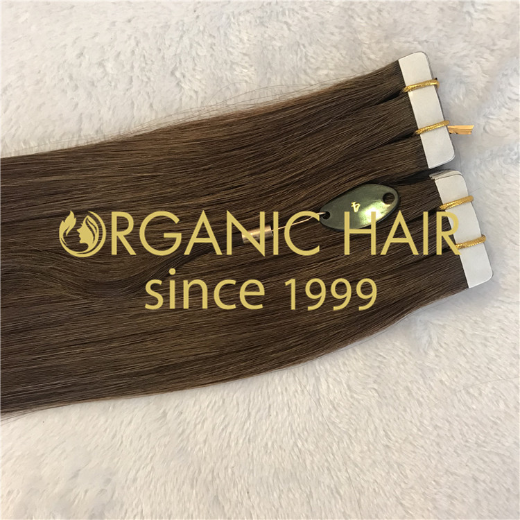 cuticle hair tape in hair extensions brown color H100