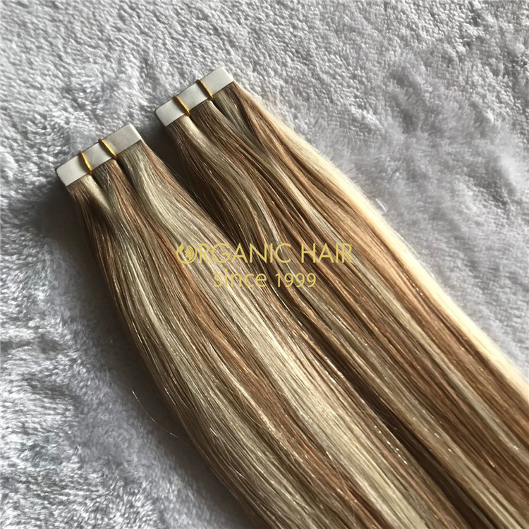 Human piano color  tape in hair extensions on sale X166