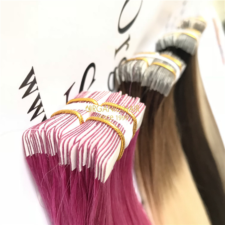 Customized human tape in hair extensions X 173