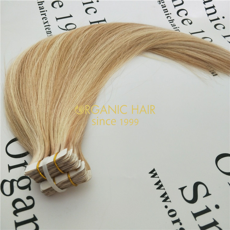 Wholesale remy human full cuticle tape in hair V54