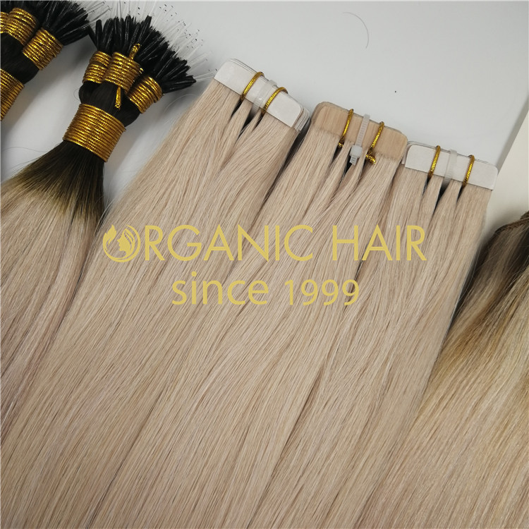 Wholesaler ashy blond color tape in hair extensions RB70