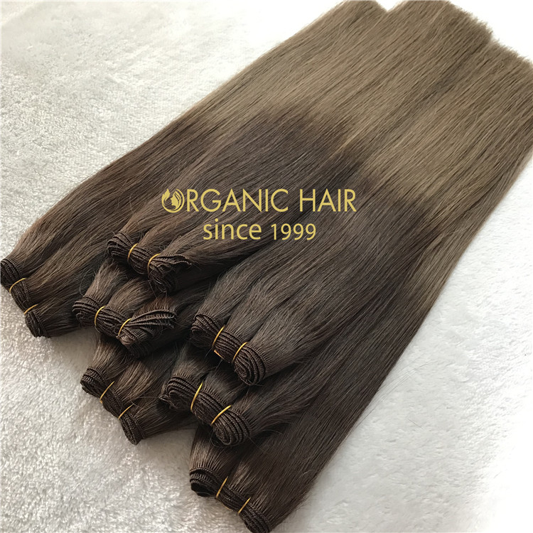 Best remy human hair extensions hand tied weft  C42
