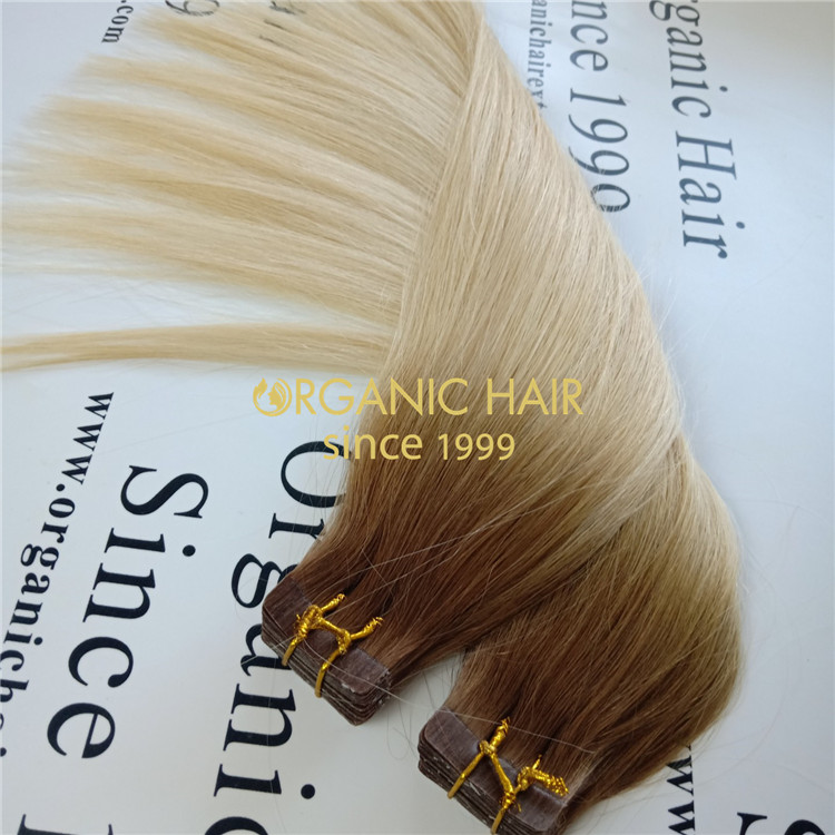 Full cuticle Hightlight balayage virgin human tape in hair A103