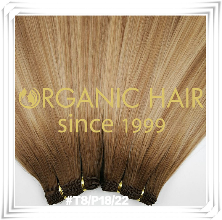 Traditional hand tied weft custom color hair extension C001