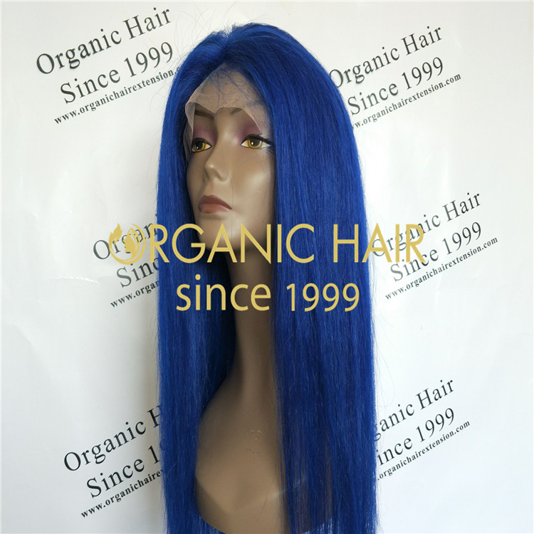 Blue color,130 density full lace wig with vigin remy human hair A54