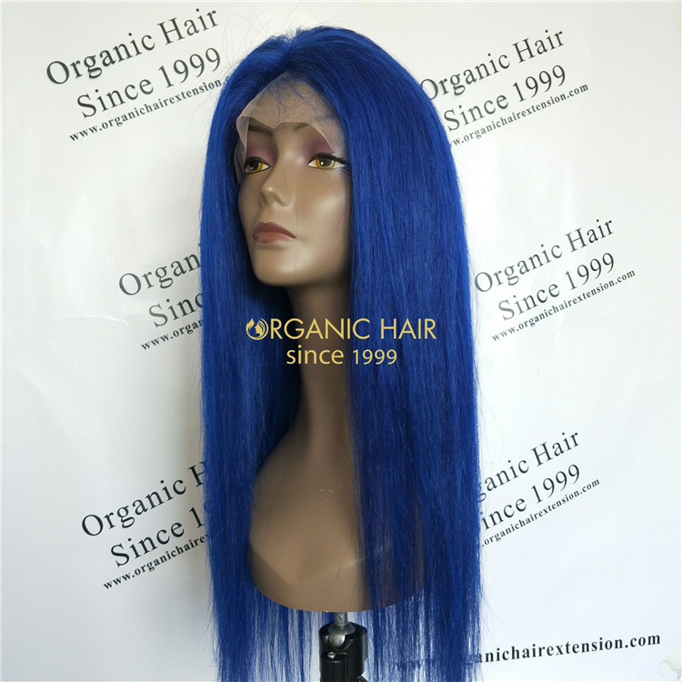 Human virgin full lace wigs beauty blue color X58