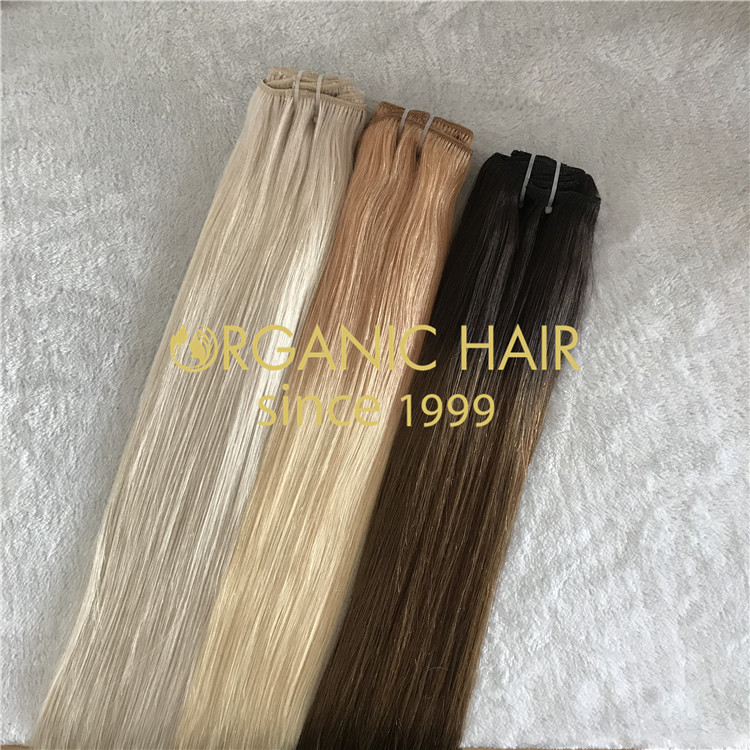 full cuticle remy hair ombre and blonde clip in hair extensions H126