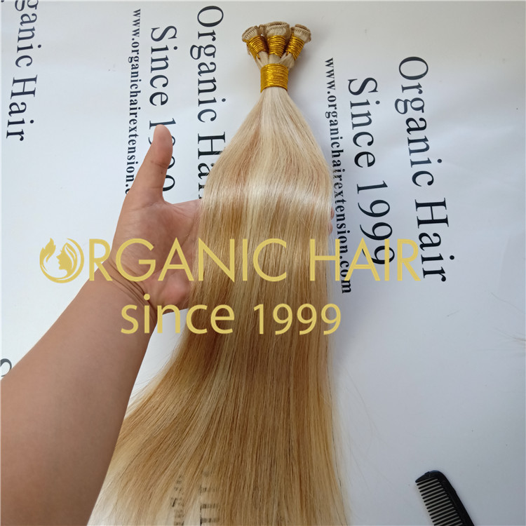 Pretty P18blond color virgin cuticle hand tied weft A71