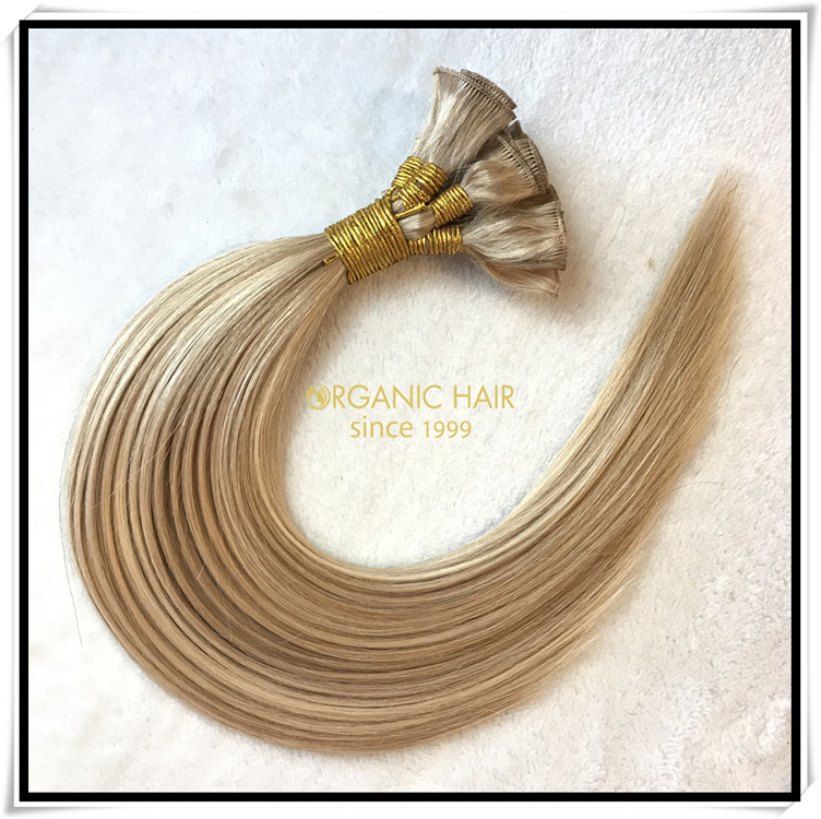 Thin weft hand tied weft hair extensions C017