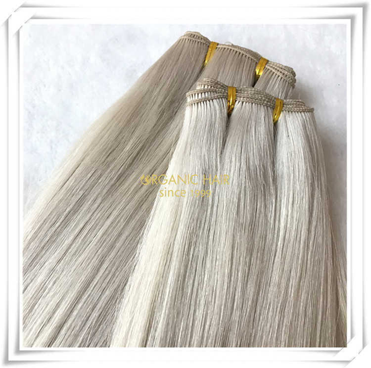 White blonde hand tied wefts 100% human hair CO75