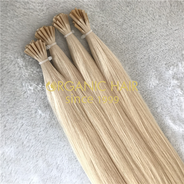 Beautiful blonde remy human I-tip hair extensions wholesale V88
