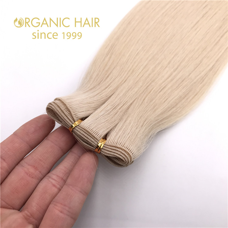 Hot sale and human cuticle intact hand tied wefts blonde color X347