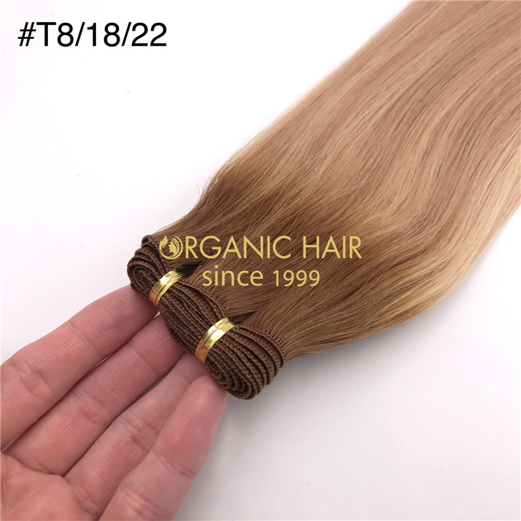Wholesale customized color human hand tied wefts #T8/18/22 X349
