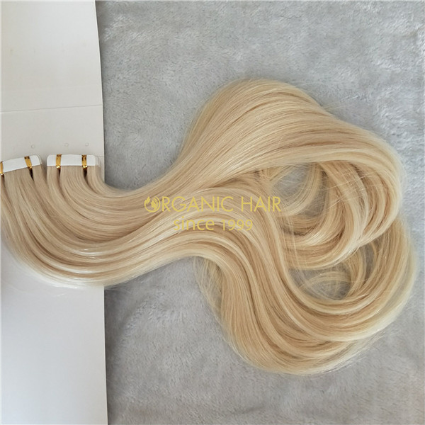 Wholesale human full cuticle tape in hair extensions X323