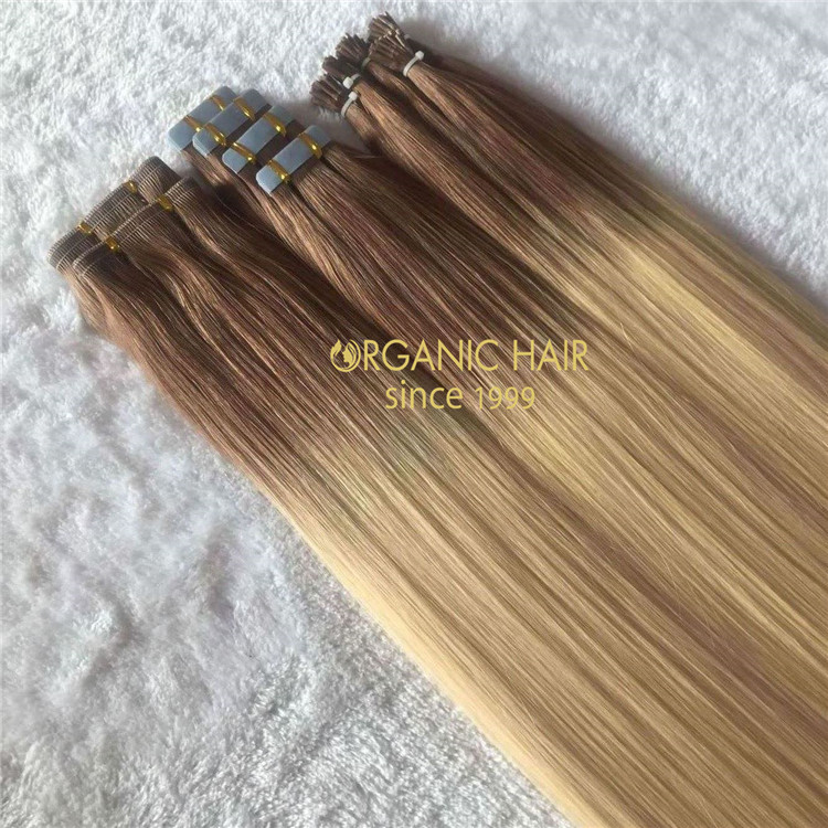 Rooted #8/613 with soft and natural blend best quality cuticle hair extensions A149