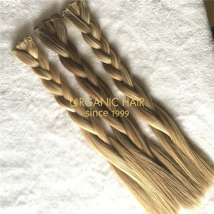 Hand tied wefts hair extensions blonde color and piano color X203