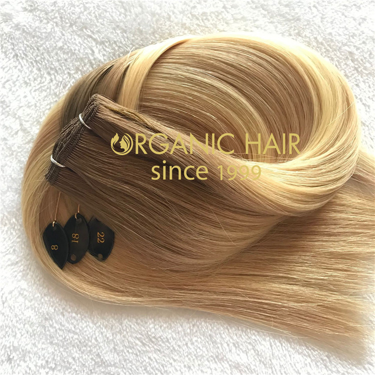 Full cuticle balayage color handtied weft #T8-18/22  C90