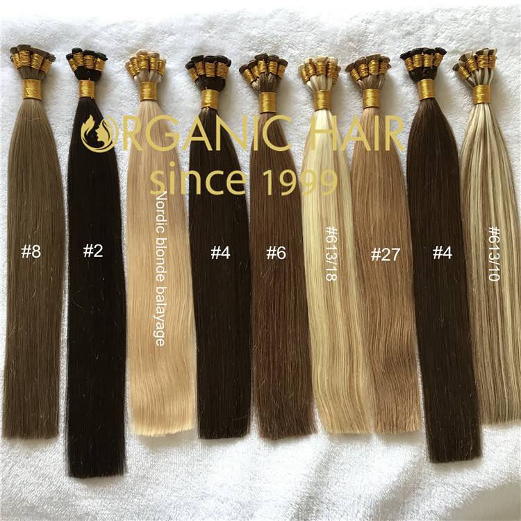 Full cuticle remy human hair extensions--hand tied weft   C100