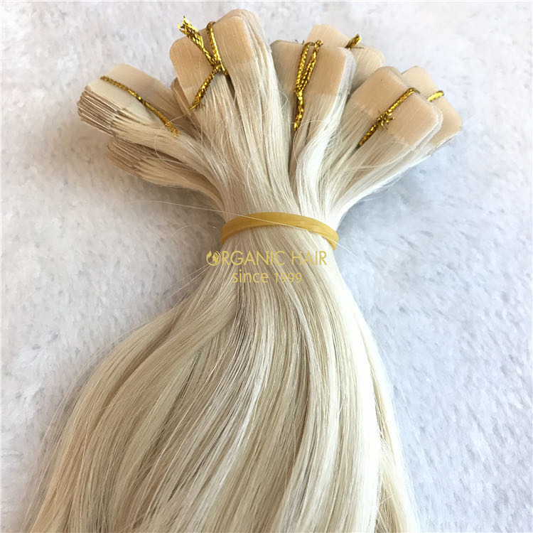 Body wave blonde color human tape in hair extensions X 222