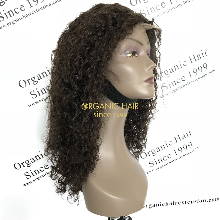 Human cheap virgin hair silk base full lace wig natural brown 180% Density Spiral Curls X67