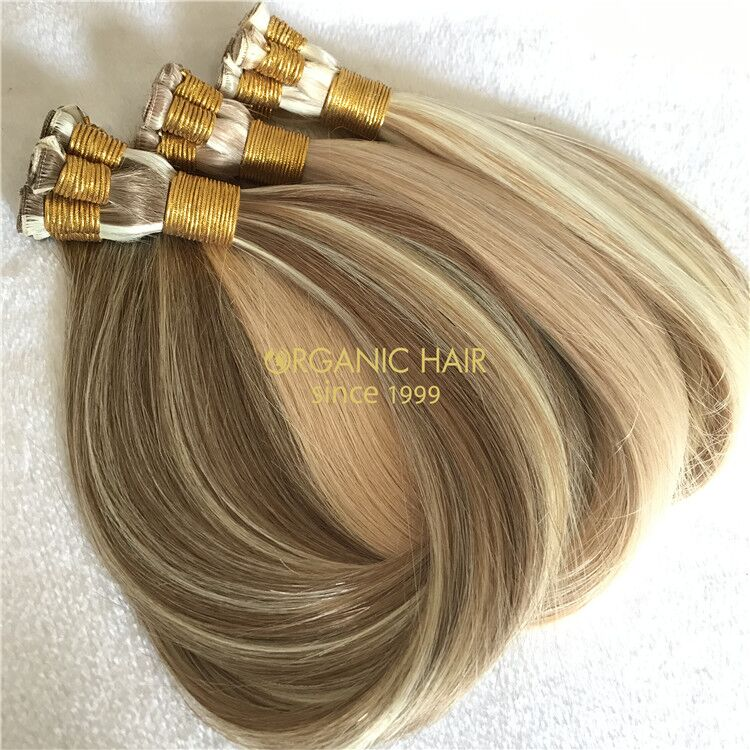 Customized popular color human hand tied wefts X217