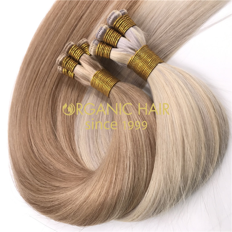 Wholesale customized color human full cuticle intact hand tied wefts X327