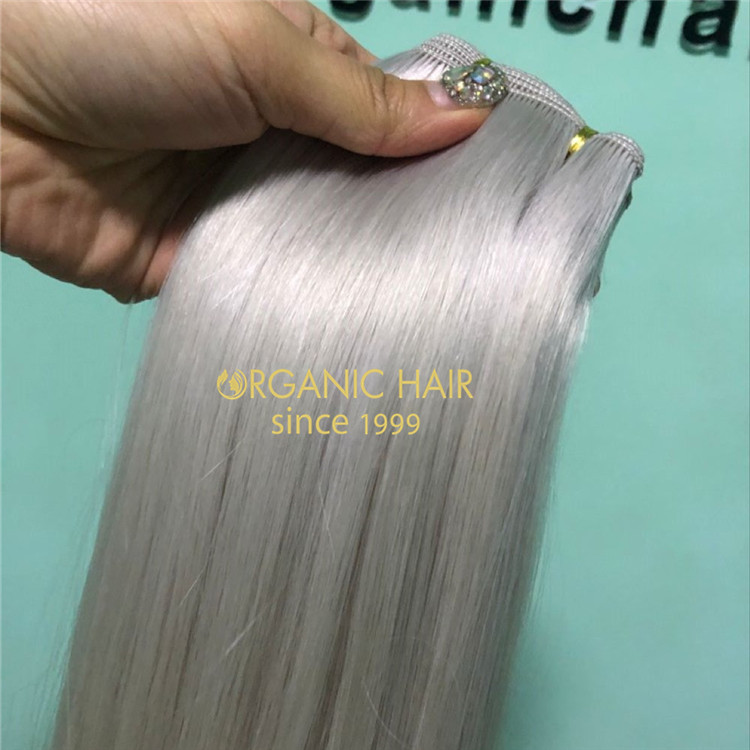 Human full cuticle Ash blonde color hand tied wefts X226