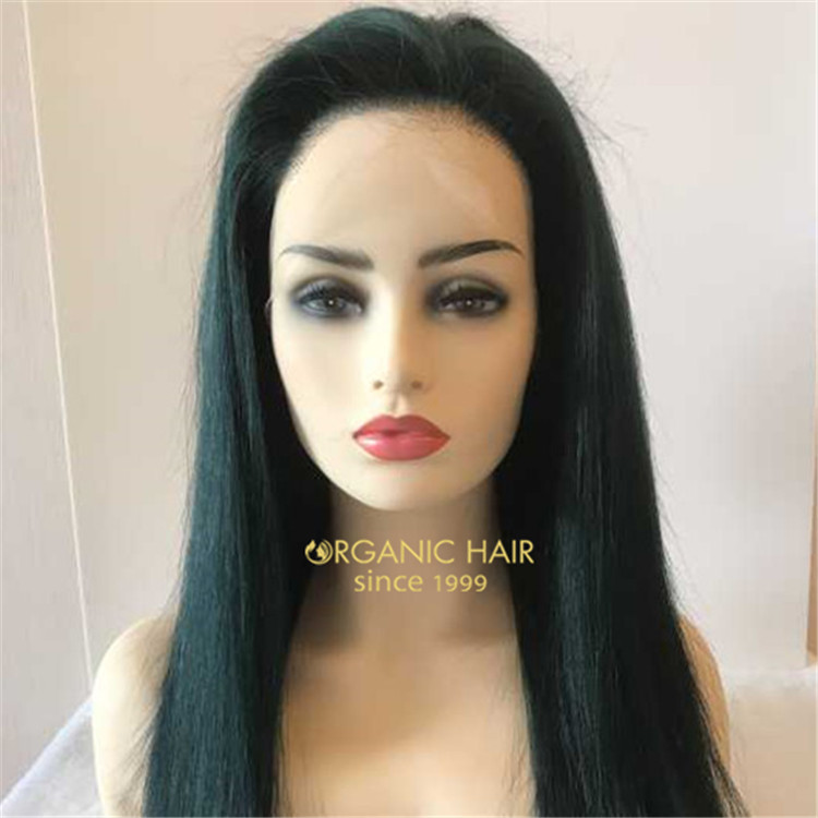Dark green 130 density one donor remy human full lace wig A100