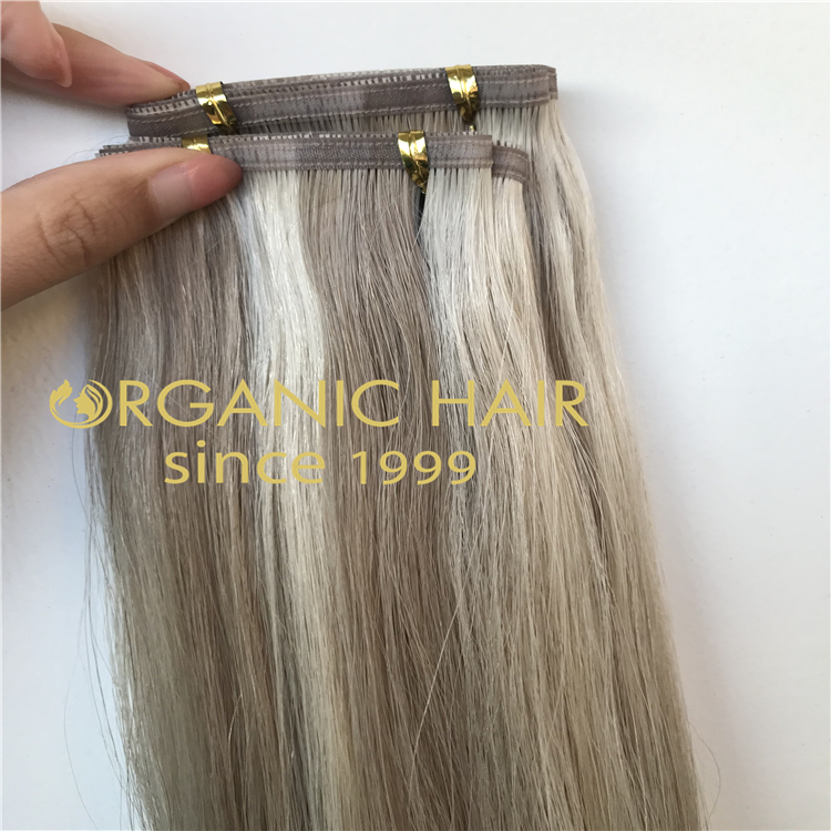 Ashy piano color hybrid wefts extensions H317