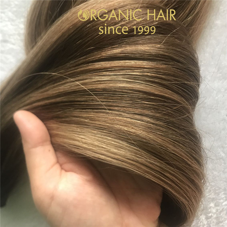 Custom balayage color hand tied weft full cuticle intact  C107