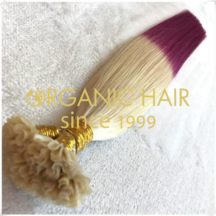 Full cuticle hair extensions,lavender  hand tied hair H133